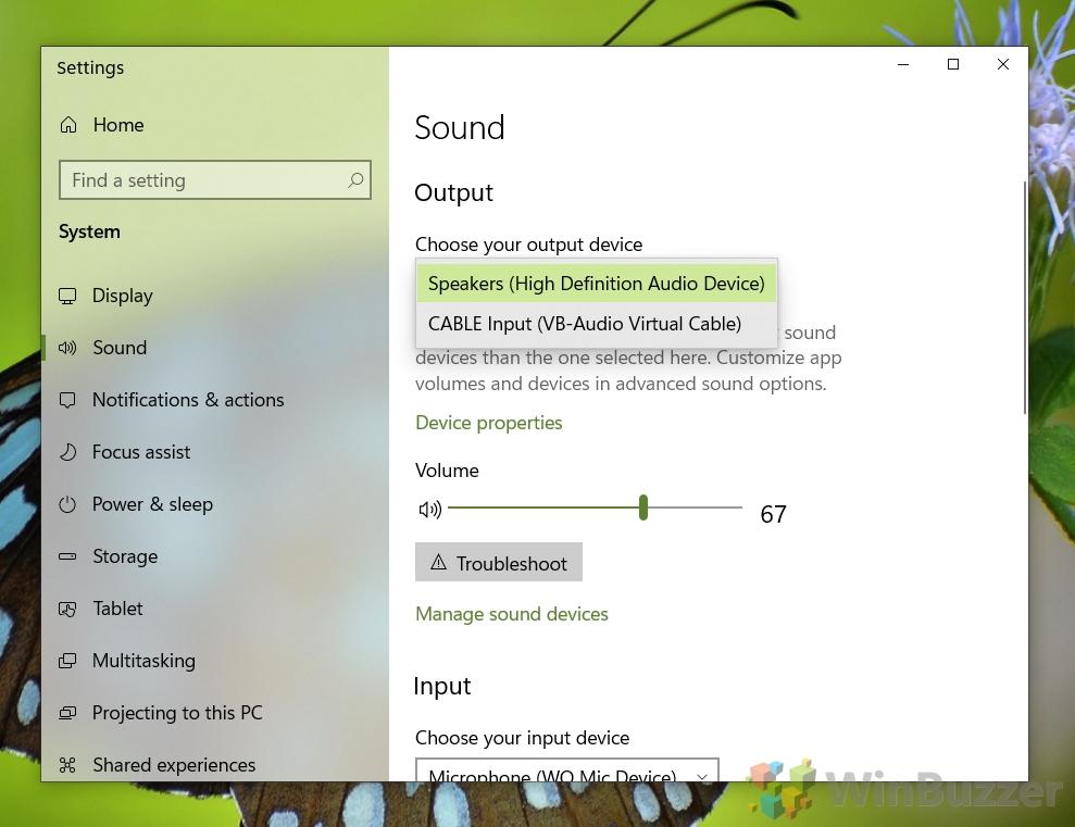 Windows 10 - Sound settings - Output - Choose device