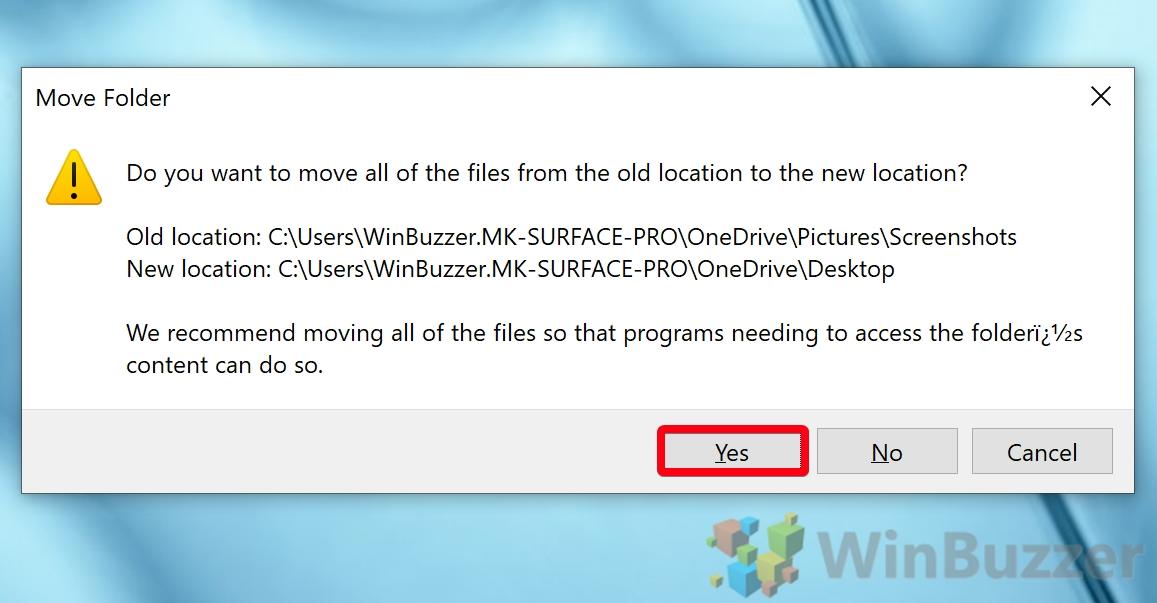 Windows 10 - Screenshots folder - Properties Location - Move - Select Folder Apply - Confirm