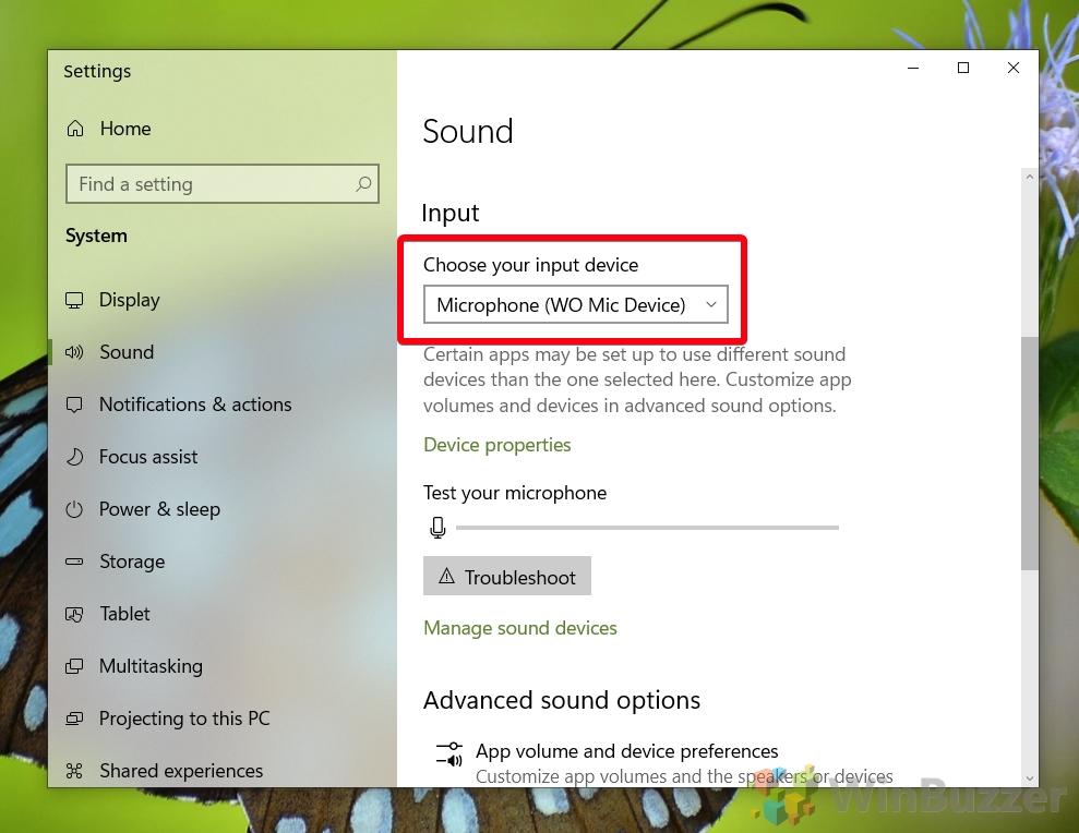 Windows 10 - Sound settings - Input