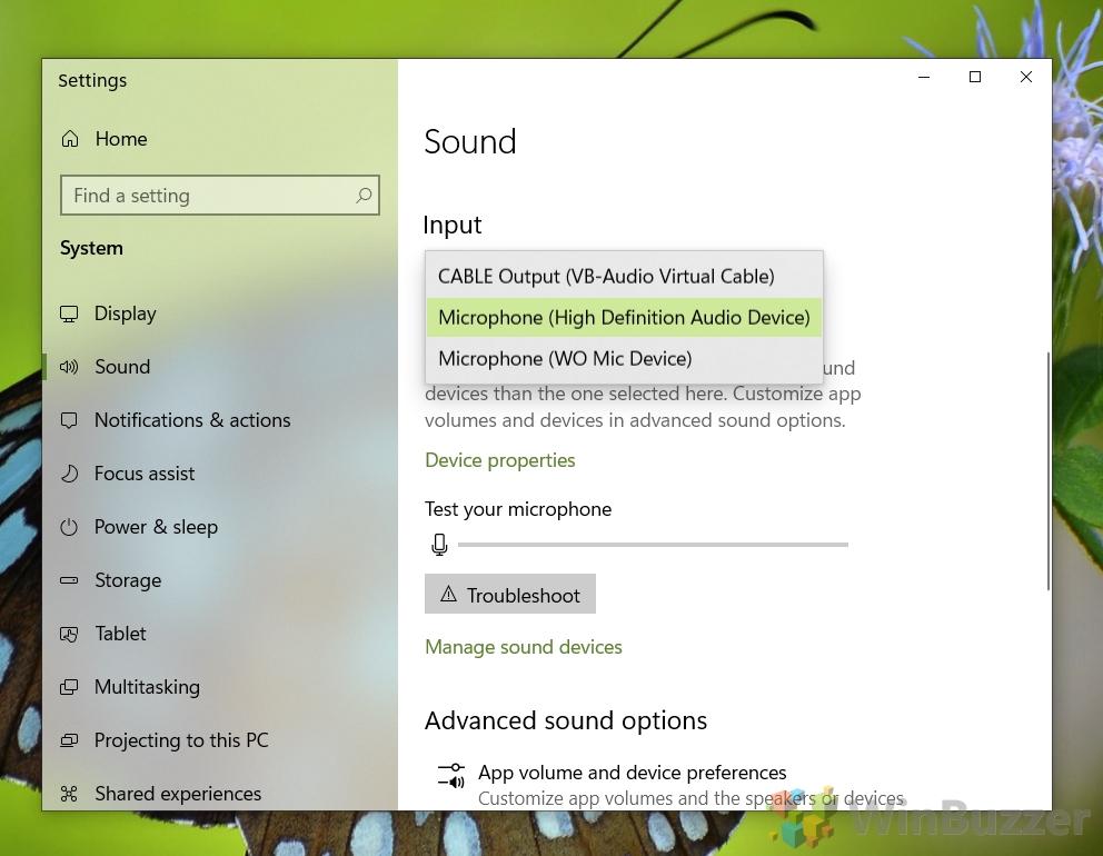 Windows 10 - Sound settings - Input - Choose device
