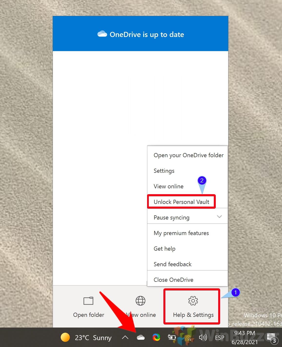 Windows 10 - OneDrive - Help & Settings - Unlock Personal Vault Option 1