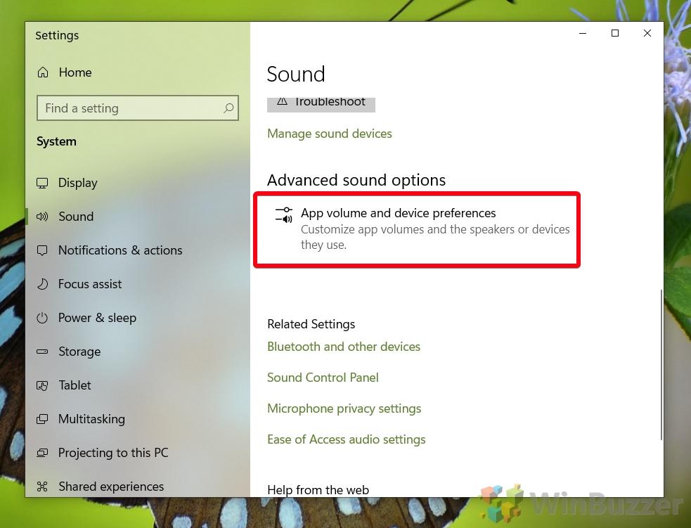Windows 10 - Sound settings - Open Advanced sound settings