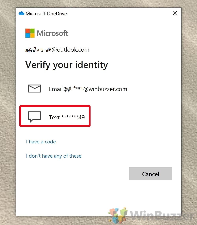 Windows 10 - OneDrive - Unlock Personal Vault - Sign In - Verify Identity
