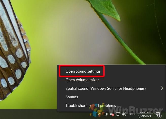 Windows 10 - Open Sound settings