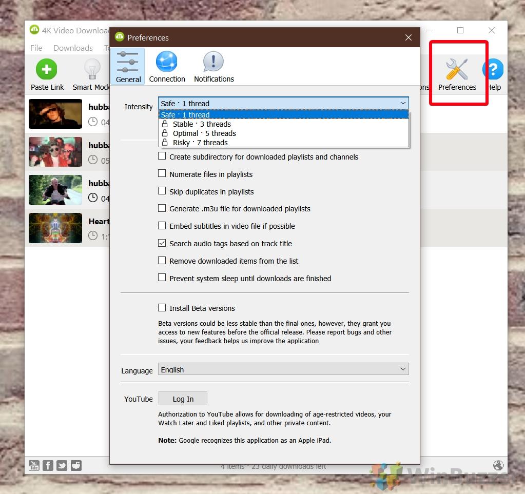 """Téléchargeur vidéo 4K - Préférences"""" width=""""1023"""" height=""""963"""" srcset=""""https://winbuzzer.com/wp-content/uploads/2021/06/09-4K-Video-Downloader-Preferences.jpg 1023w, https://winbuzzer.com/wp-content/uploads/2021/06/09-4K-Video-Downloader-Preferences-300x282.jpg 300w, https://winbuzzer.com/wp-content/uploads/2021/06 /09-4K-Video-Downloader-Preferences-768x723.jpg 768w, https://winbuzzer.com/wp-content/uploads/2021/06/09-4K-Video-Downloader-Preferences-150x141.jpg 150w, https ://winbuzzer.com/wp-content/uploads/2021/06/09-4K-Video-Downloader-Preferences-696x655.jpg 696w, https://winbuzzer.com/wp-content/uploads/2021/06/ 09-4K-Video-Downloader-Preferences-446x420.jpg 446w"""" size=""""(max-width: 1023px) 100vw, 1023px"""