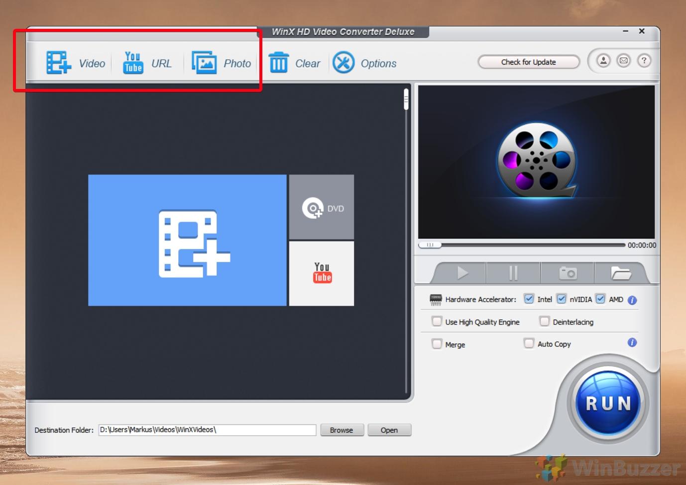 WinX Video Converter - Select Source