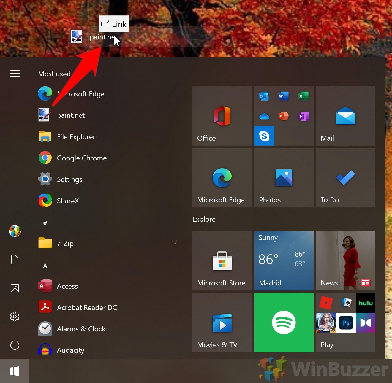 Windows 10 - Start Menu - Drag an Drop the App to the Desktop