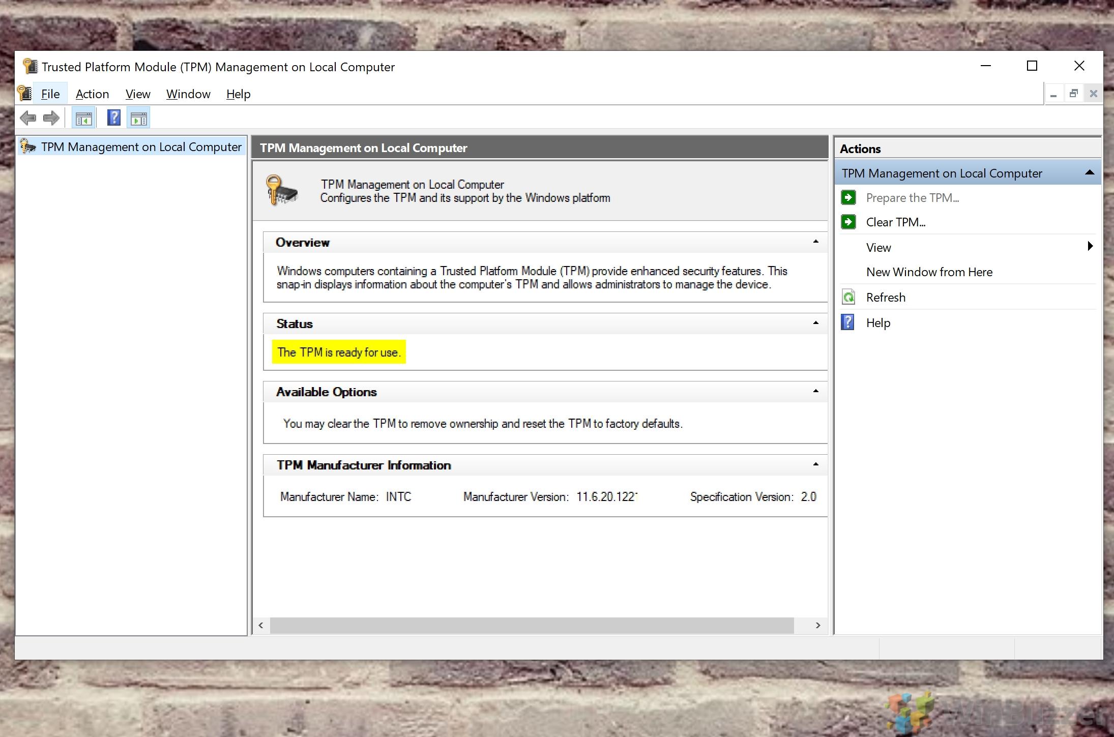 Windows 10 - Run - Tpm.msc - Evidence