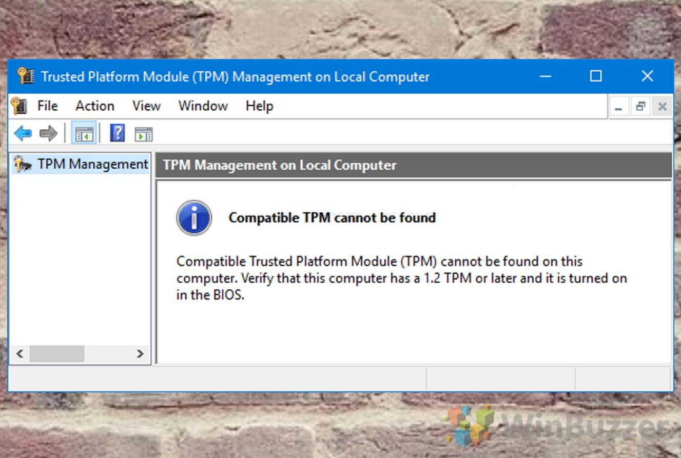 Windows 10 - Run - Tpm.msc - Not Installed