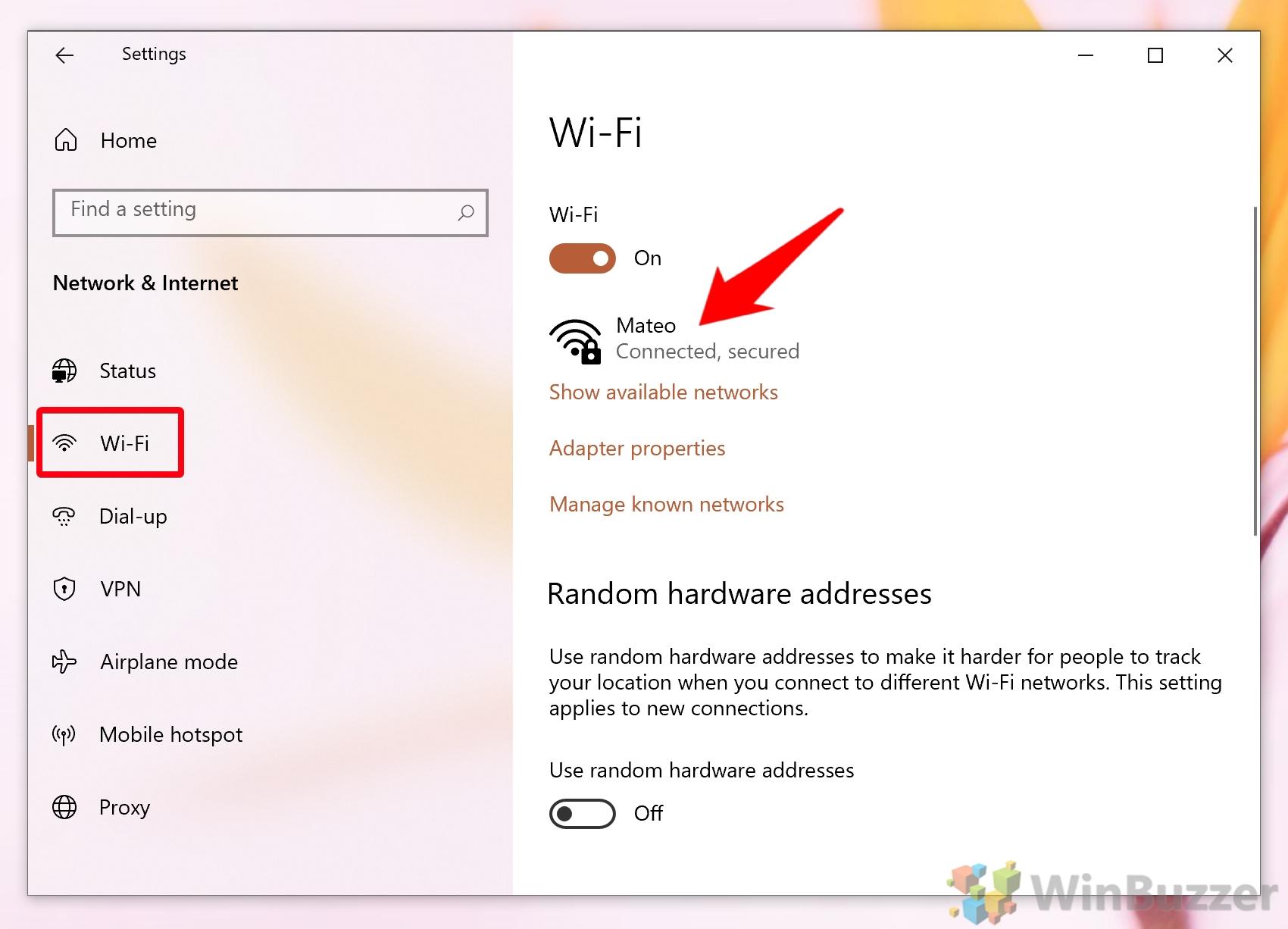 Windows 10 - Settings - Network & Internet - Wifi