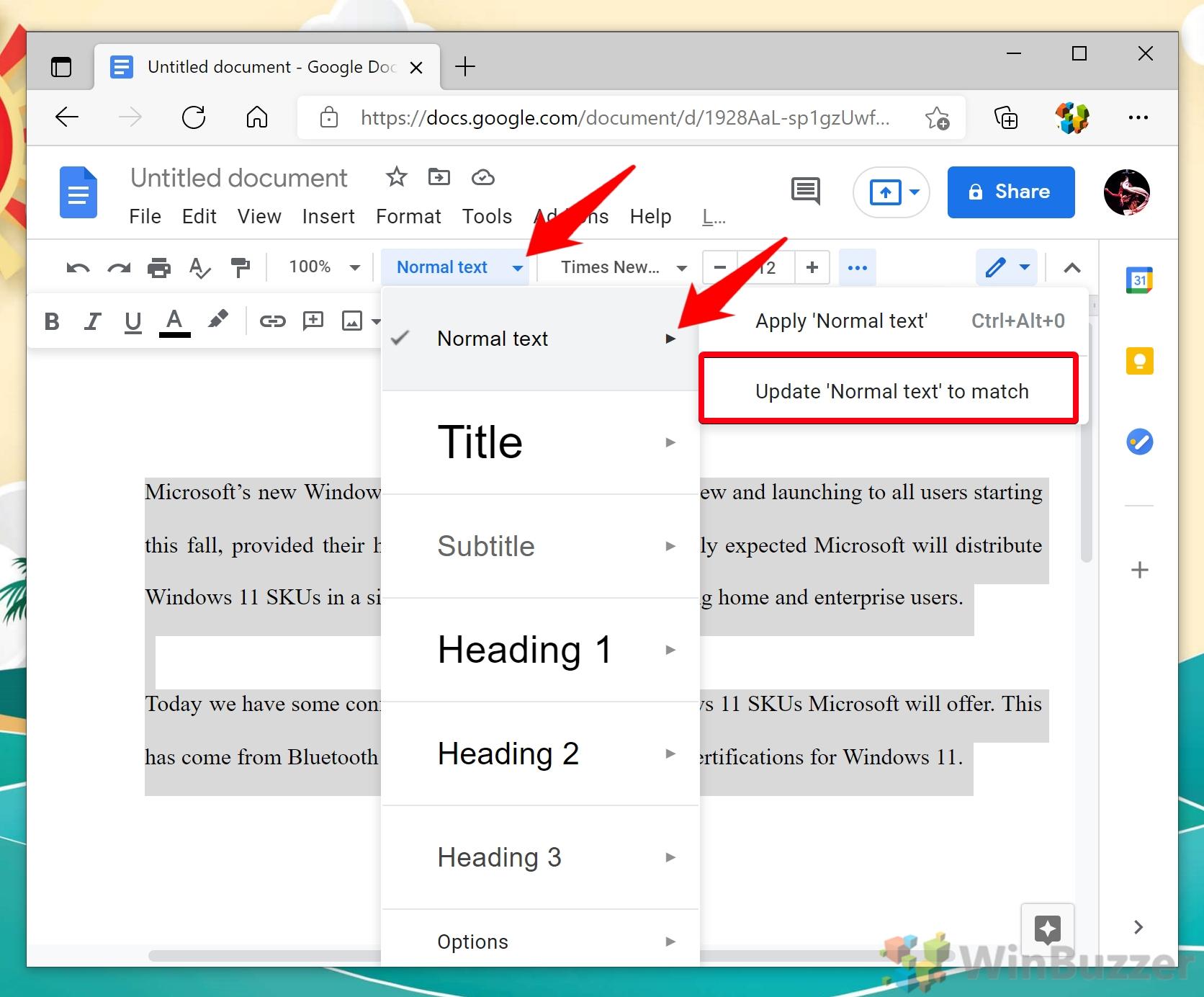 Windows 10 - Google Docs - Highlight Text - Normal Text - Update Normal Text to Match