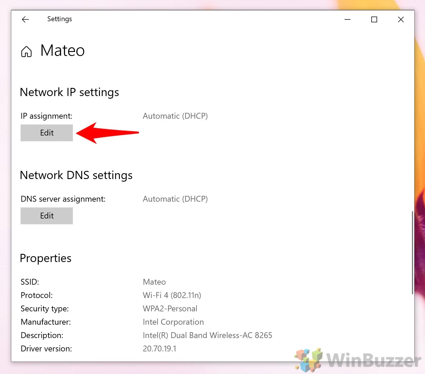 Windows 10 - Settings - Network & Internet - Wifi - Edit IP Assignment