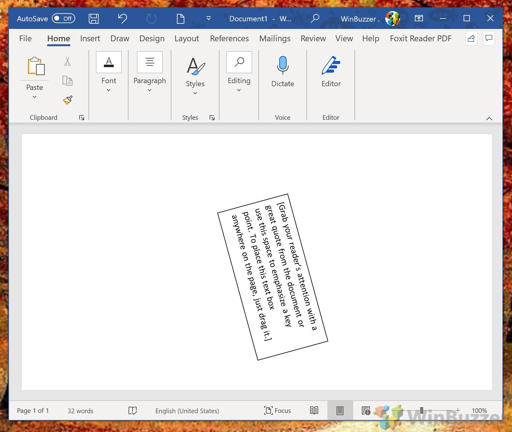 Windows 10 - Word - Text Box - Manual Rotation - Result