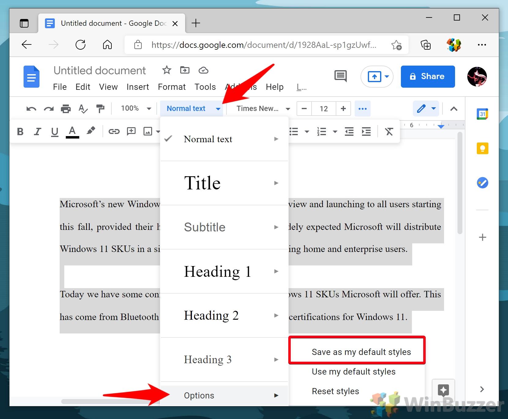 Windows 10 - Google Docs - Highlight Text - Normal Text - Options - Save Default Styles