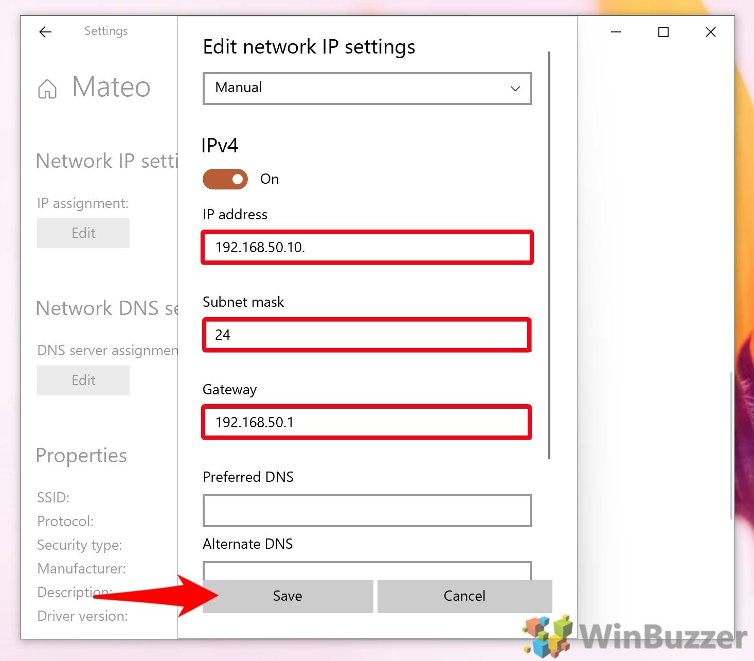 Windows 10 - Settings - Network & Internet - Wifi - Edit IP Assignment - Manual - Fill it