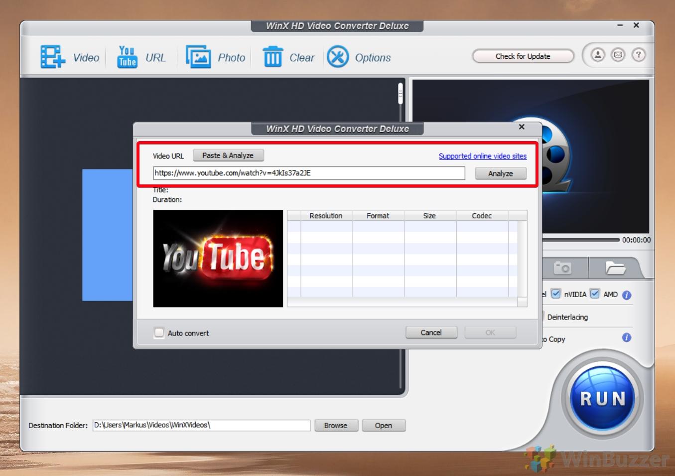 WinX Video Converter - paste URL