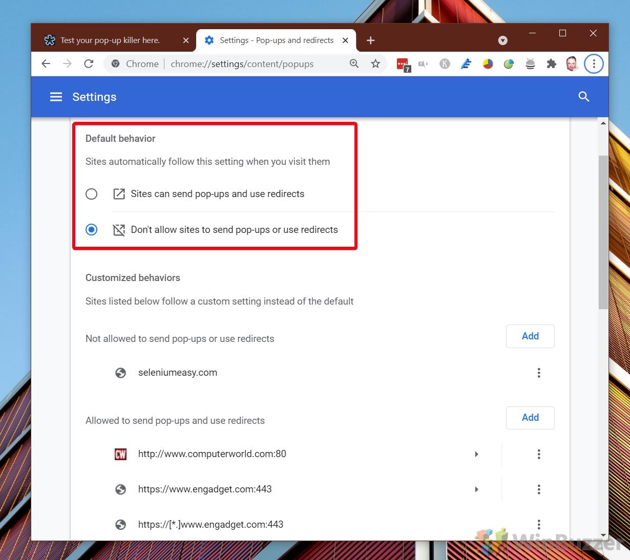 Chrome - Settings - Pop-ups and redirects - Default behavior