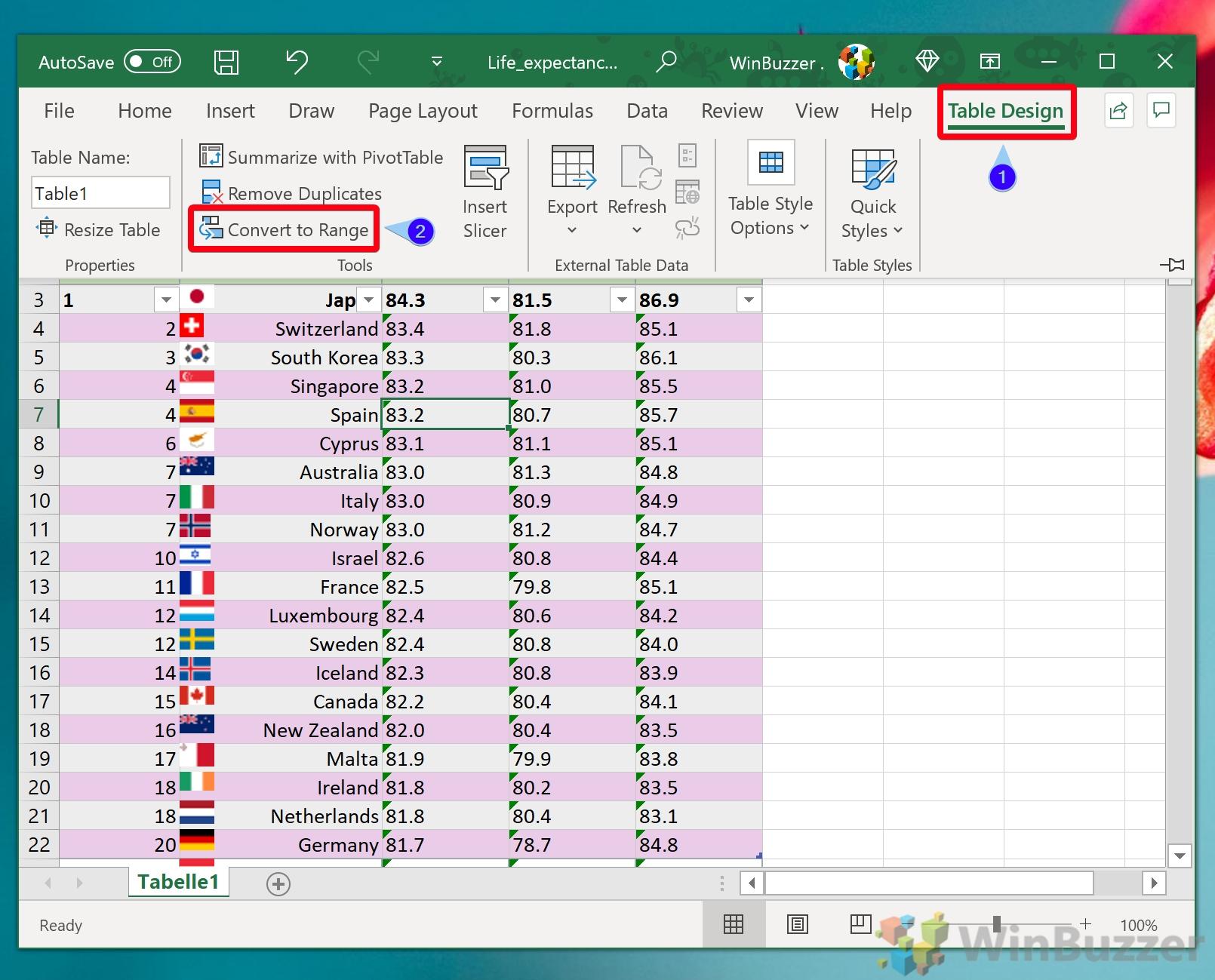 Windows 10 - Excel - Table Design - Convert to Range