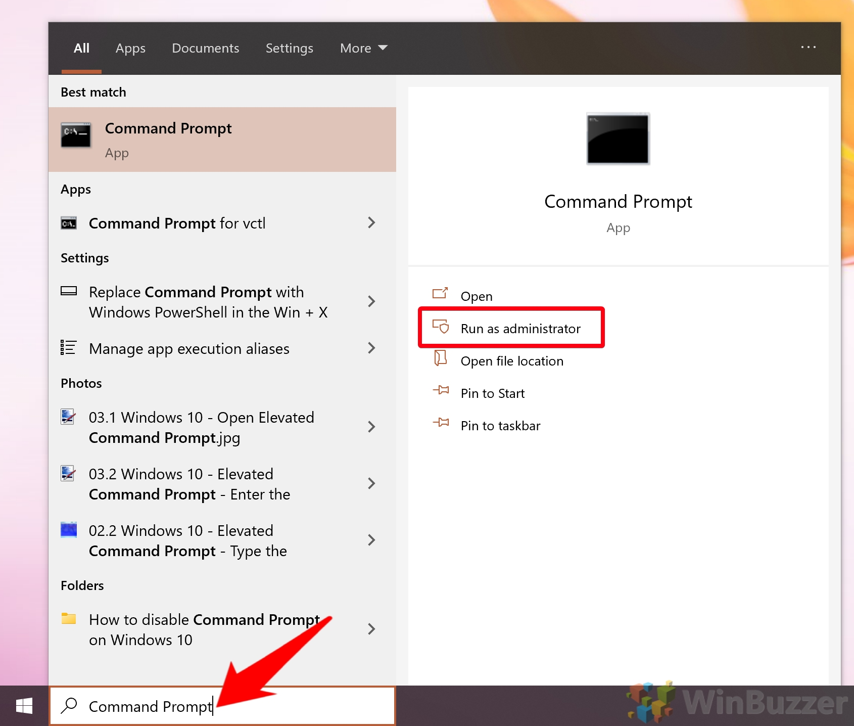 Windows 10 - Open Elevated Command Prompt