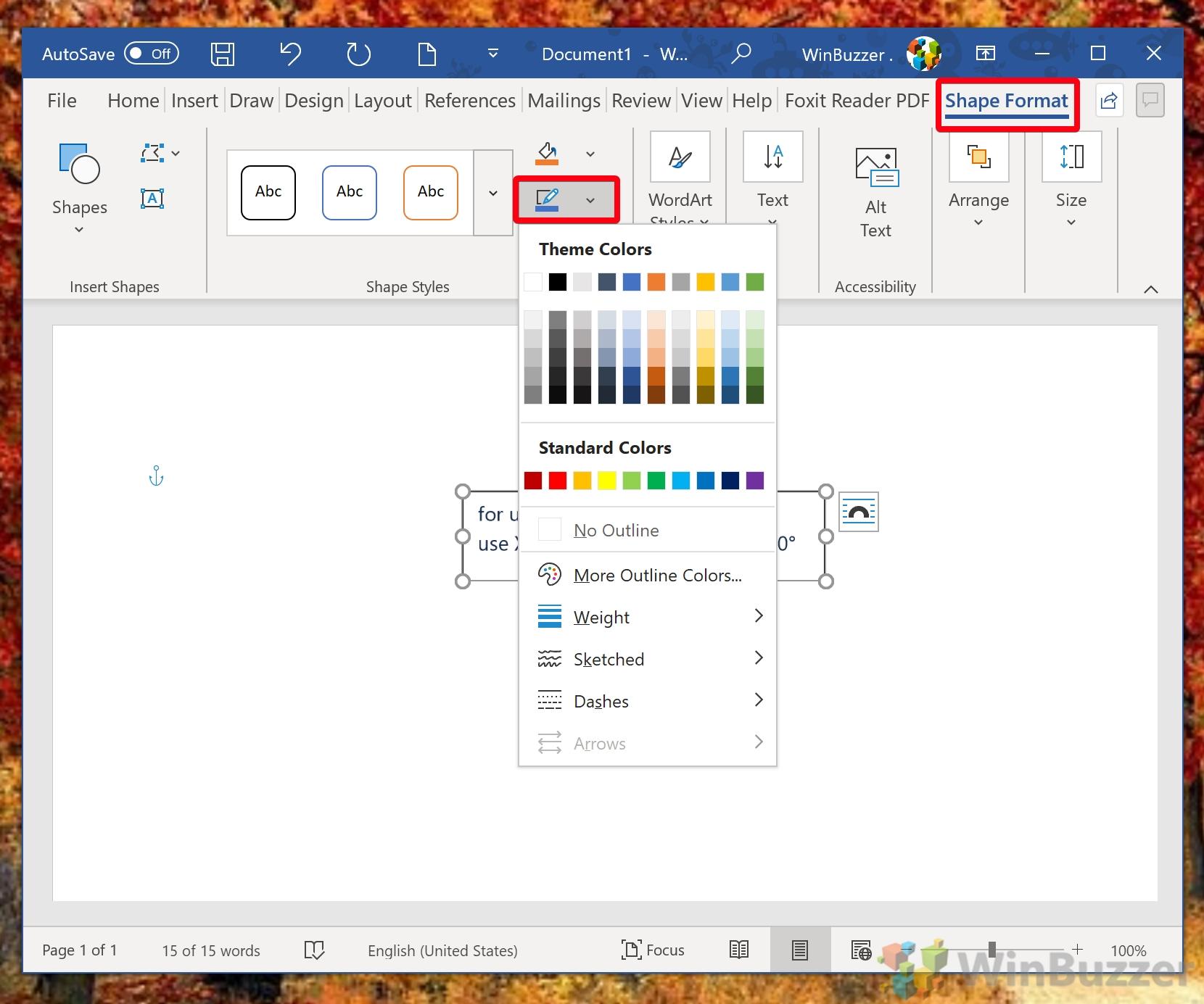 Windows 10 - Word - Shape Format - Shape Outline