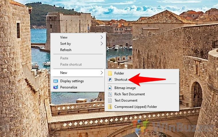 Windows 10 - Desktop - New - Shortcut