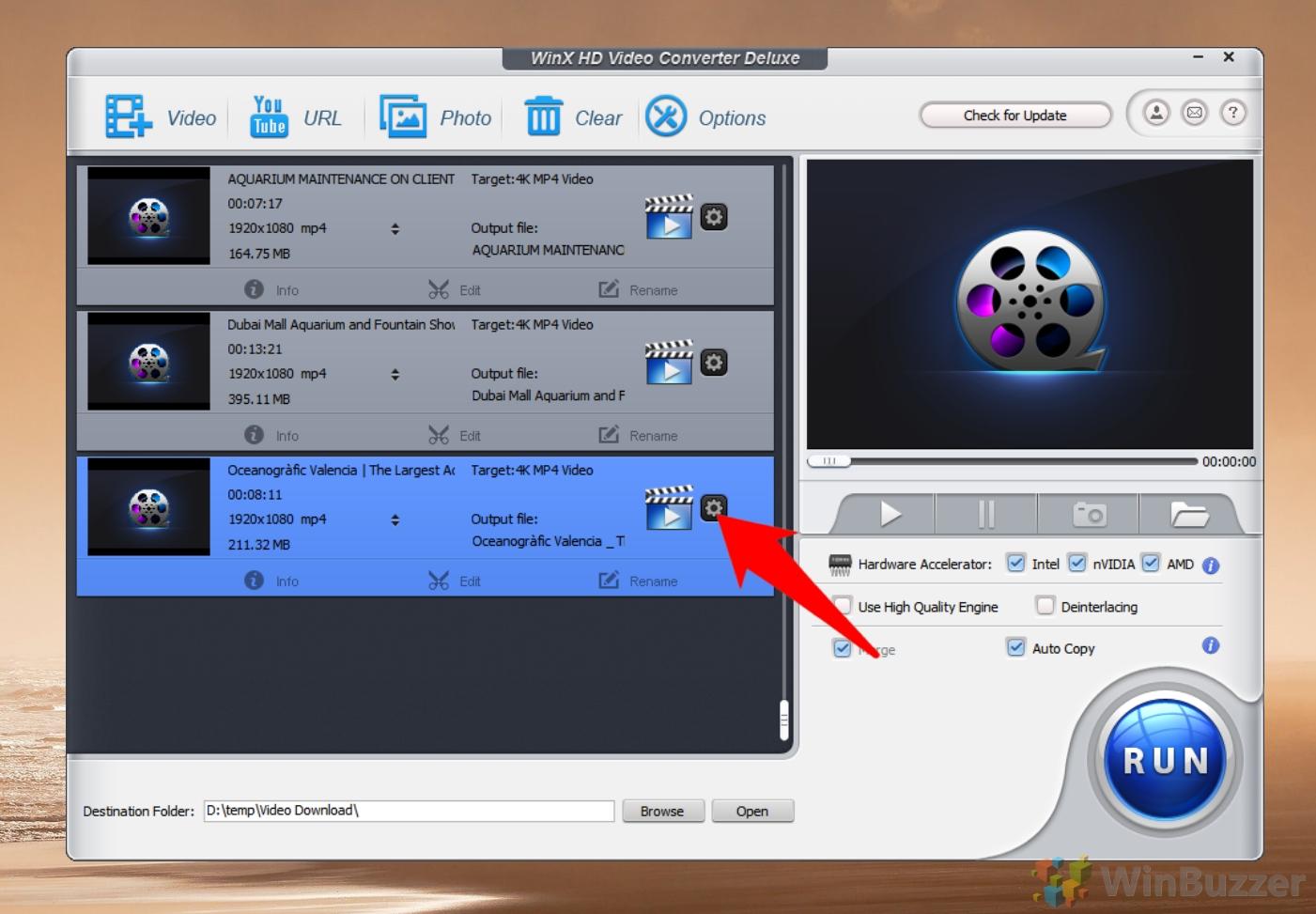 WinX Video Converter - Video Download - conversion settings