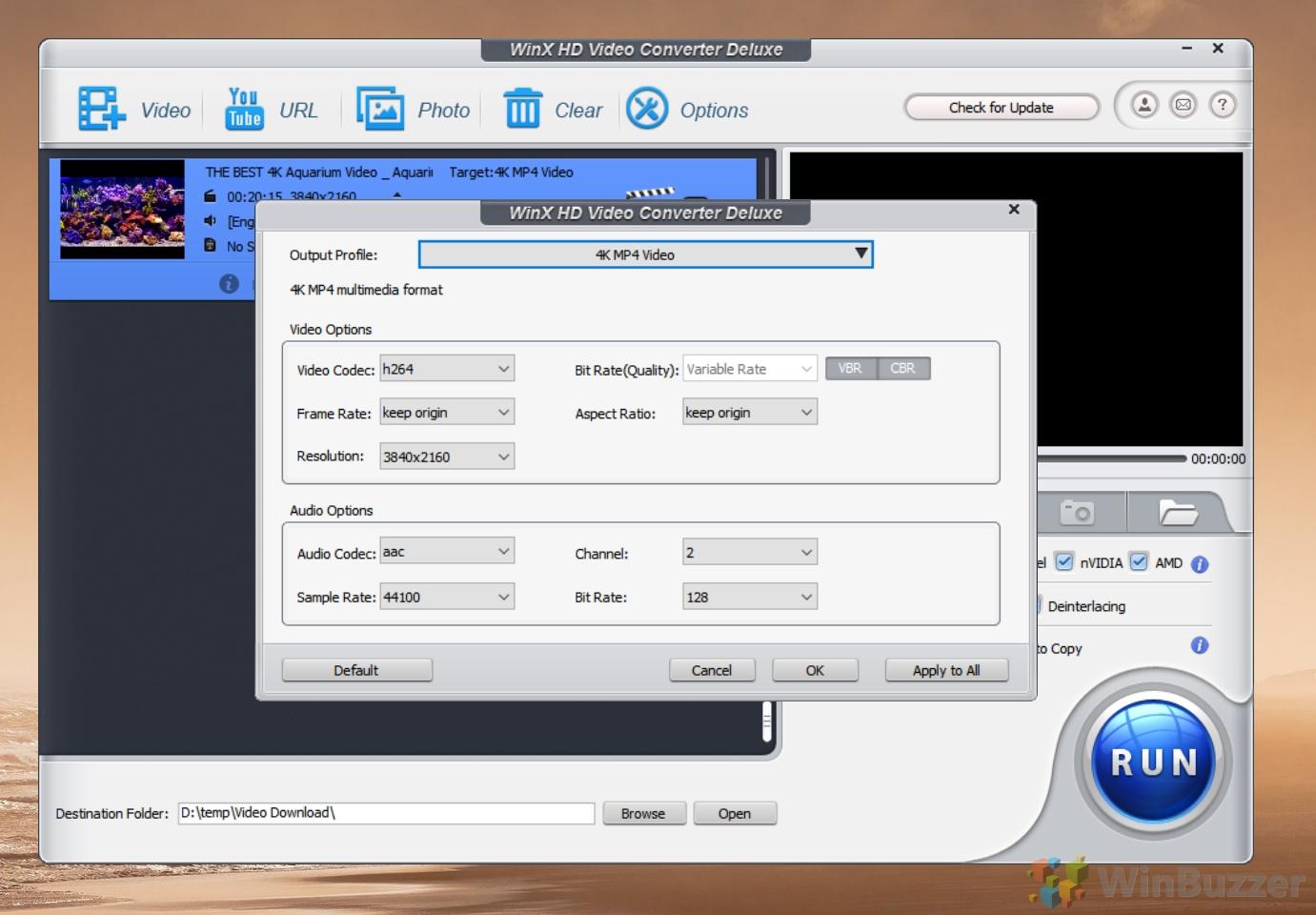 WinX Video Converter - Output Profile
