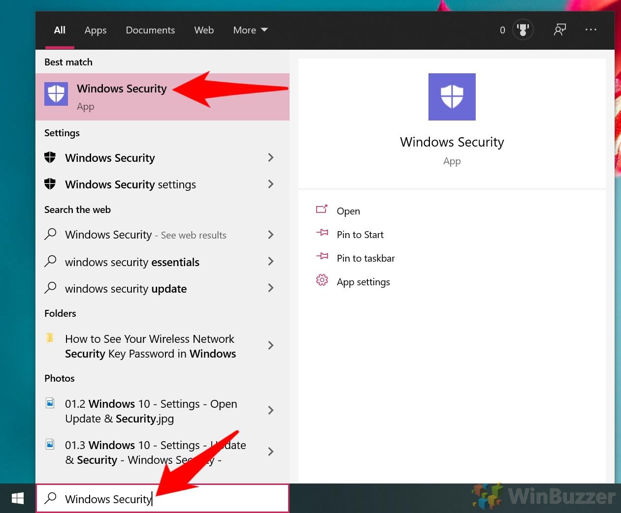 Windows 10 - Open Windows Security