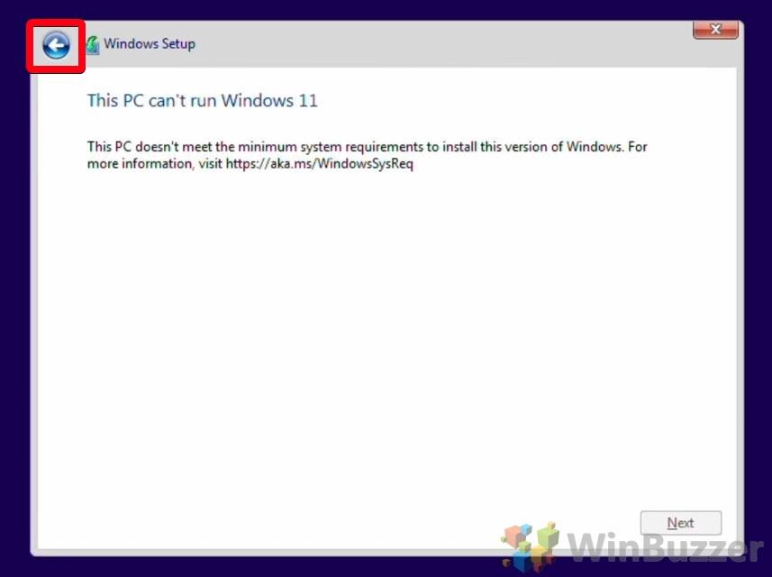 Windows 10 - Windows Setup - Can´t run Windows 10 - Open Arrow