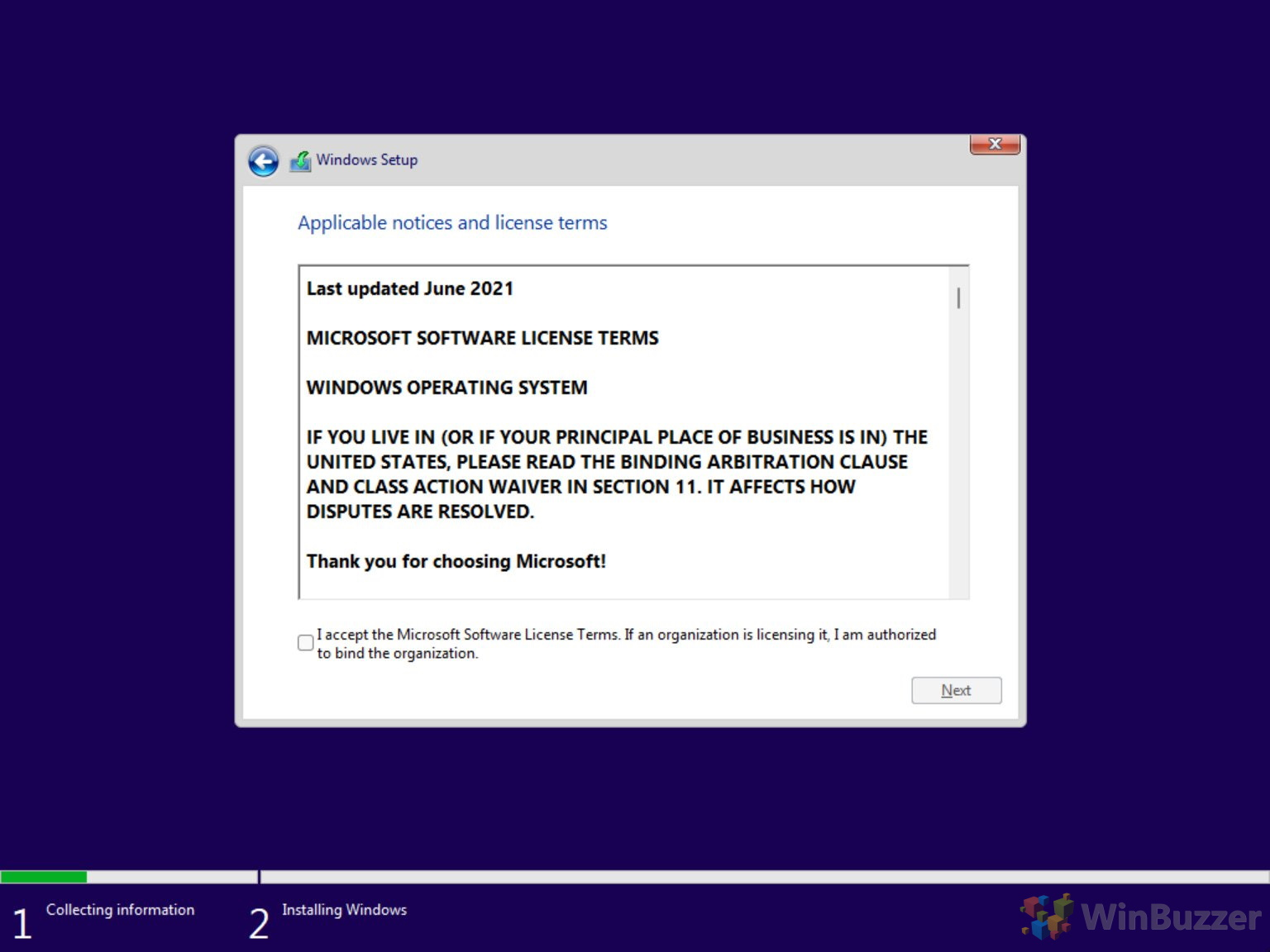 Windows 10 - Windows Setup - Continue