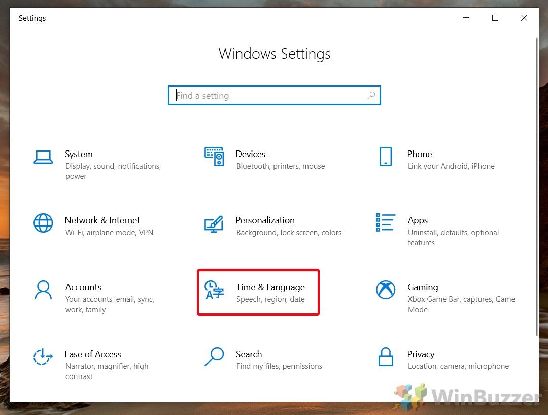 Windows 10 - Settings - Open Time & Languaje