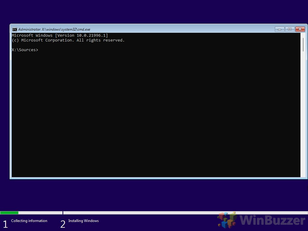 Windows 10 - Windows Setup - Can´t run Windows 10 - Command Prompt