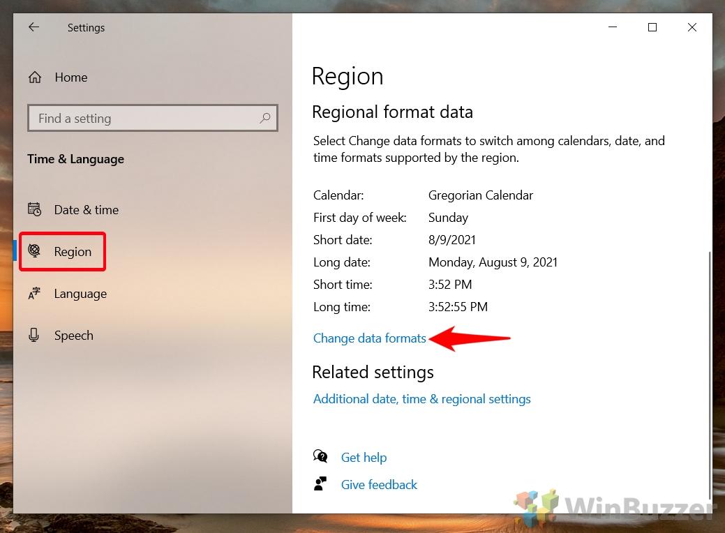 Windows 10 - Settings - Time & Languaje - Region - Change Date Formats