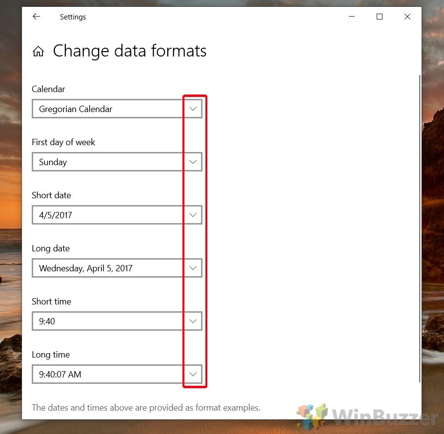 Windows 10 - Settings - Time & Languaje - Region - Change Date Formats 2