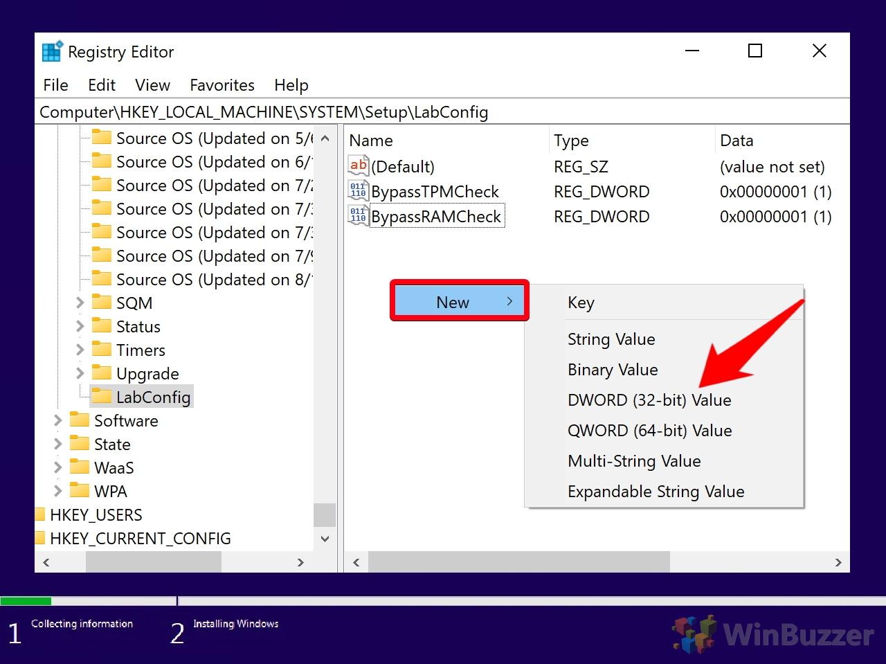 Windows 10 - Windows Setup - Can´t run Windows 10 - Command Prompt - Registry Editor - Navigate to - Setup - LabConfig - New DWORD