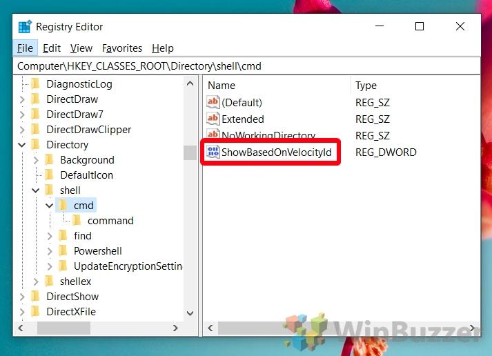 Windows 10 - Registry Editor - Browse the Path to Cmd- Rename HideBasedOnVelocityld to ShowBasedOnVelocityld