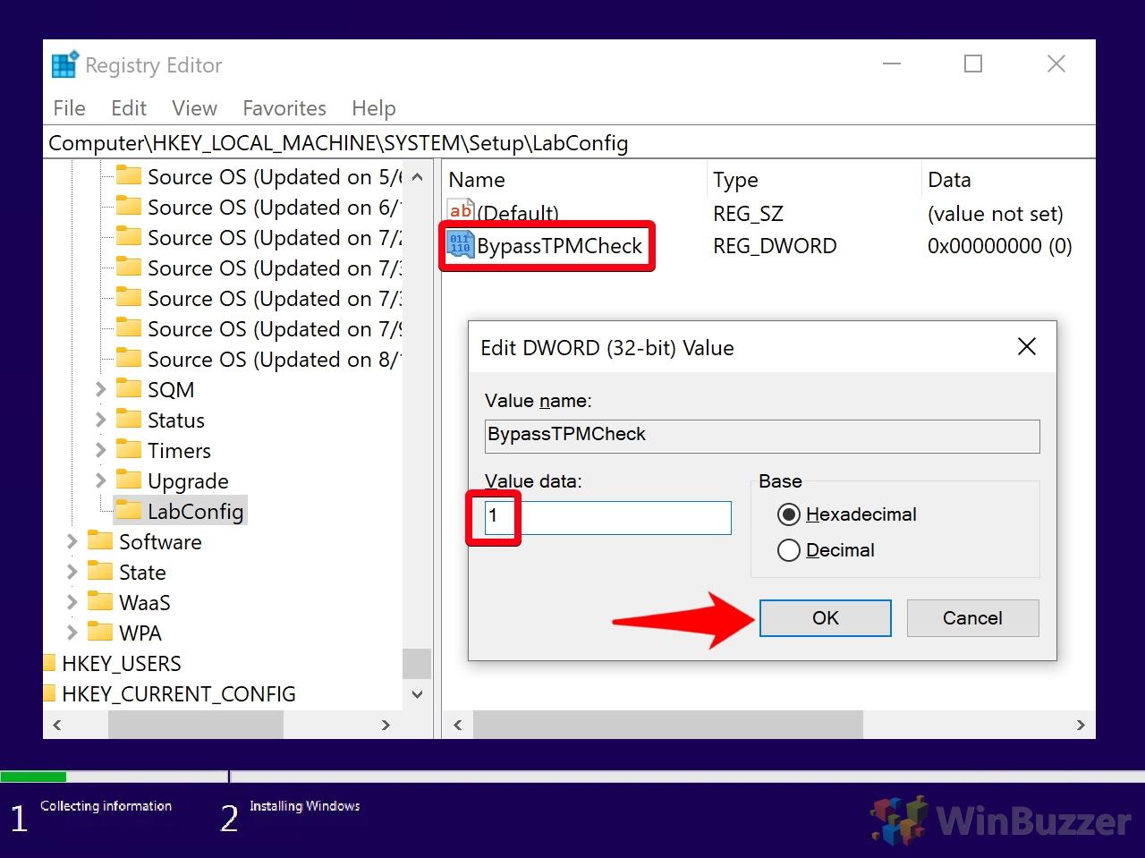 Windows 10 - Windows Setup - Can´t run Windows 10 - Command Prompt - Registry Editor - Navigate to - Setup - LabConfig - New DWORD - BypassTPMCheck - 1 Value