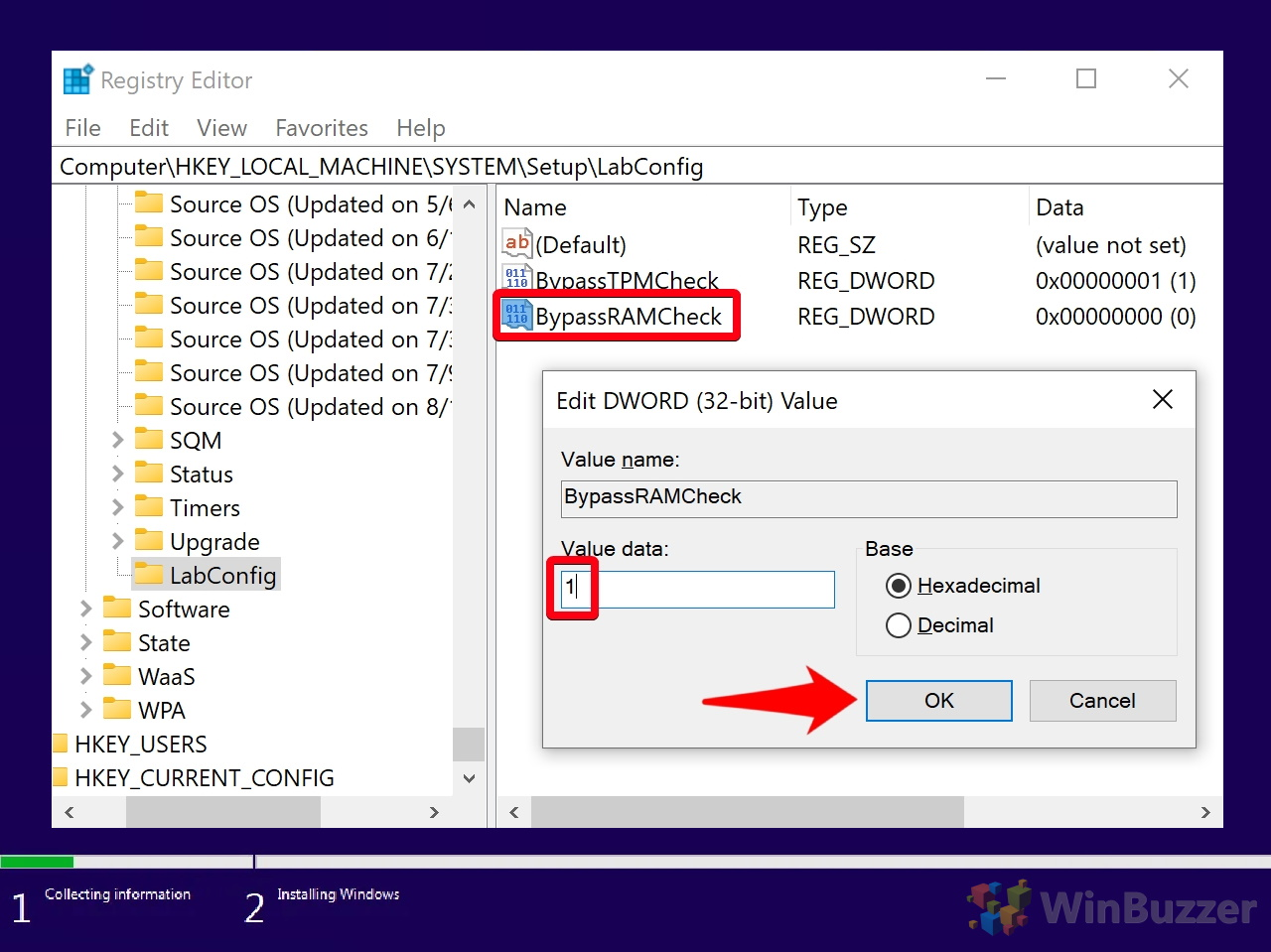 Windows 10 - Windows Setup - Can´t run Windows 10 - Command Prompt - Registry Editor - Navigate to - Setup - LabConfig - New DWORD BypassRAMCheck - 1 Value
