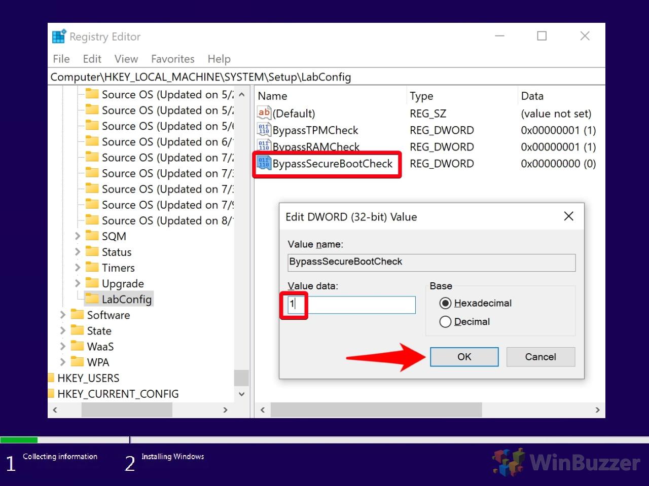 Windows 10 - Windows Setup - Can´t run Windows 10 - Command Prompt - Registry Editor - Navigate to - Setup - LabConfig - New DWORD - BypassSecureBootCheck - 1 Value