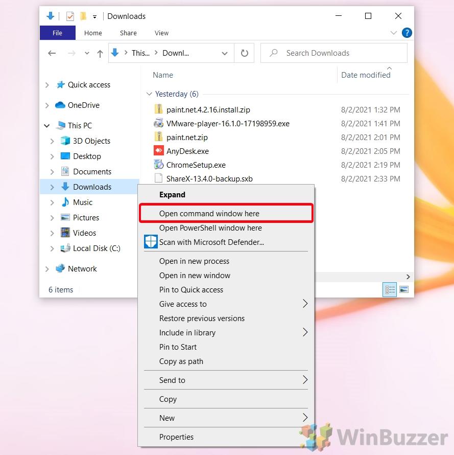 Windows 10 - File Explorer - Open Cmd on Context Menu Folder Background