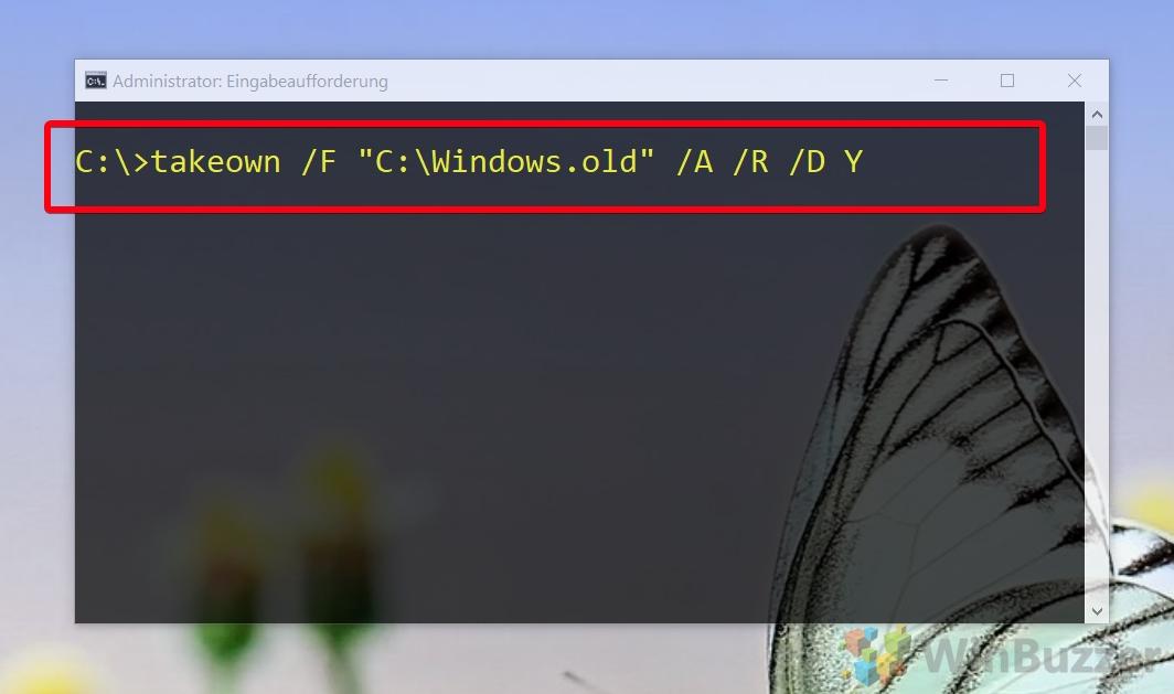 Windows 10 CMD admin - takeown