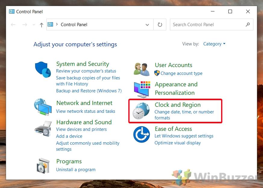 Windows 10 - Control Panel - Open Clock and Region