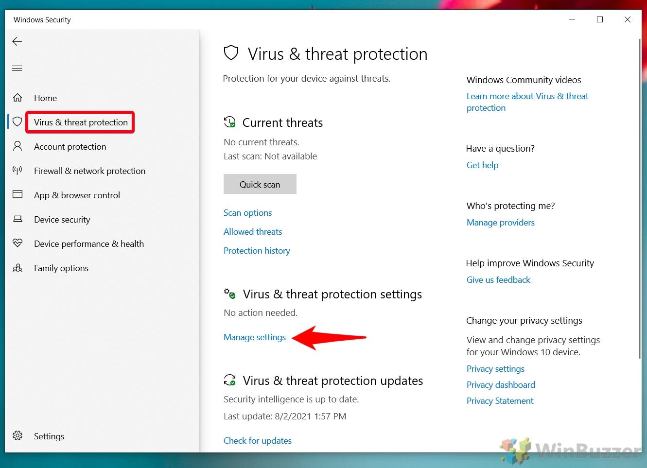Windows 10 - Windows Security - Virus & Threat Protection - Manage Settings