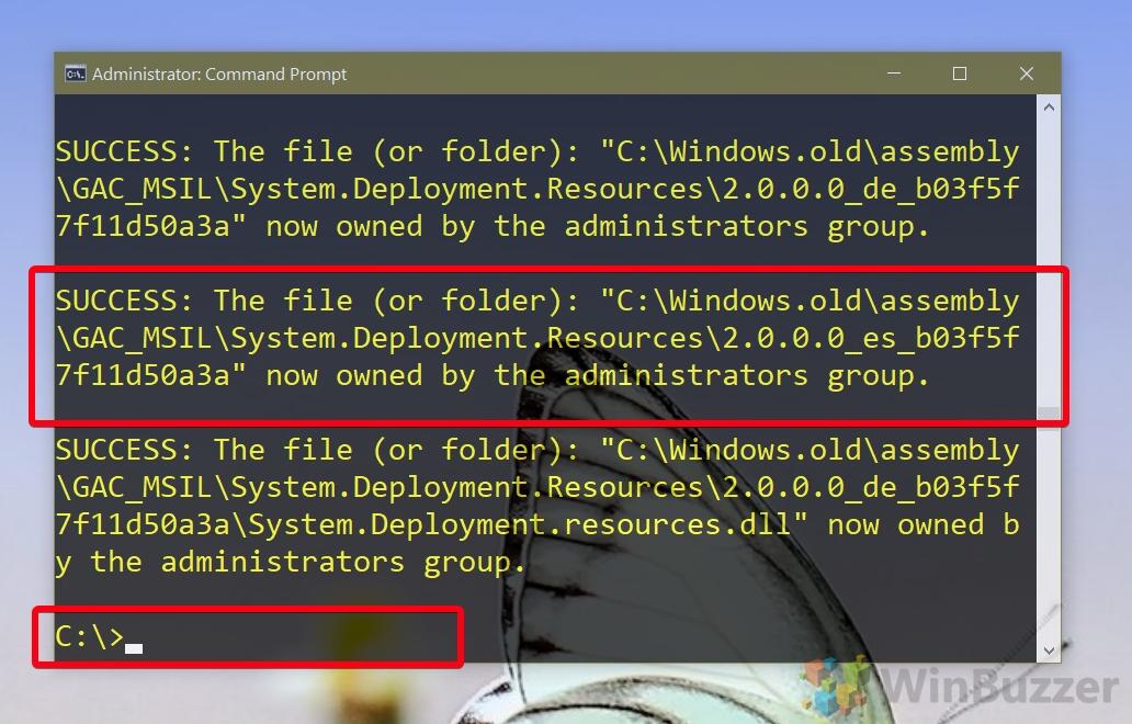 Windows 10 CMD admin - takeown - finished