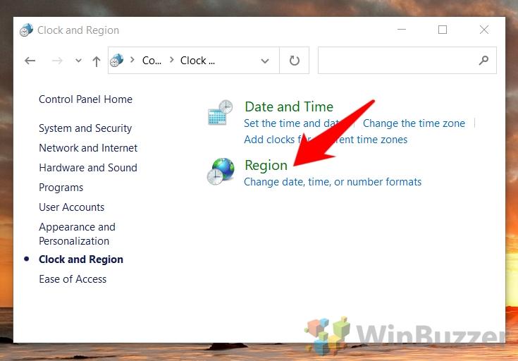 Windows 10 - Control Panel - Open - Region
