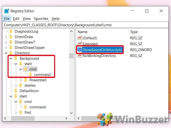 Windows 10 - Registry Editor - Browse the Path to Cmd - ShowBasedOnVelocityld