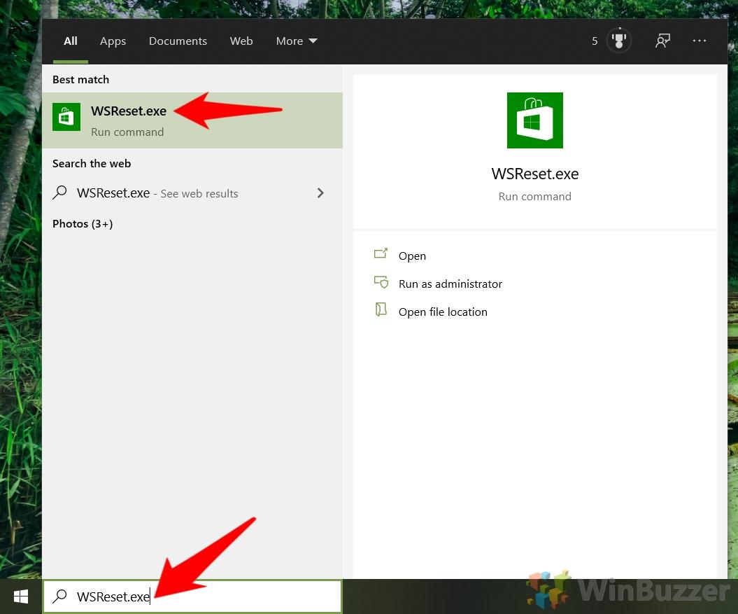 Windows 10 - Open WSRese.exe