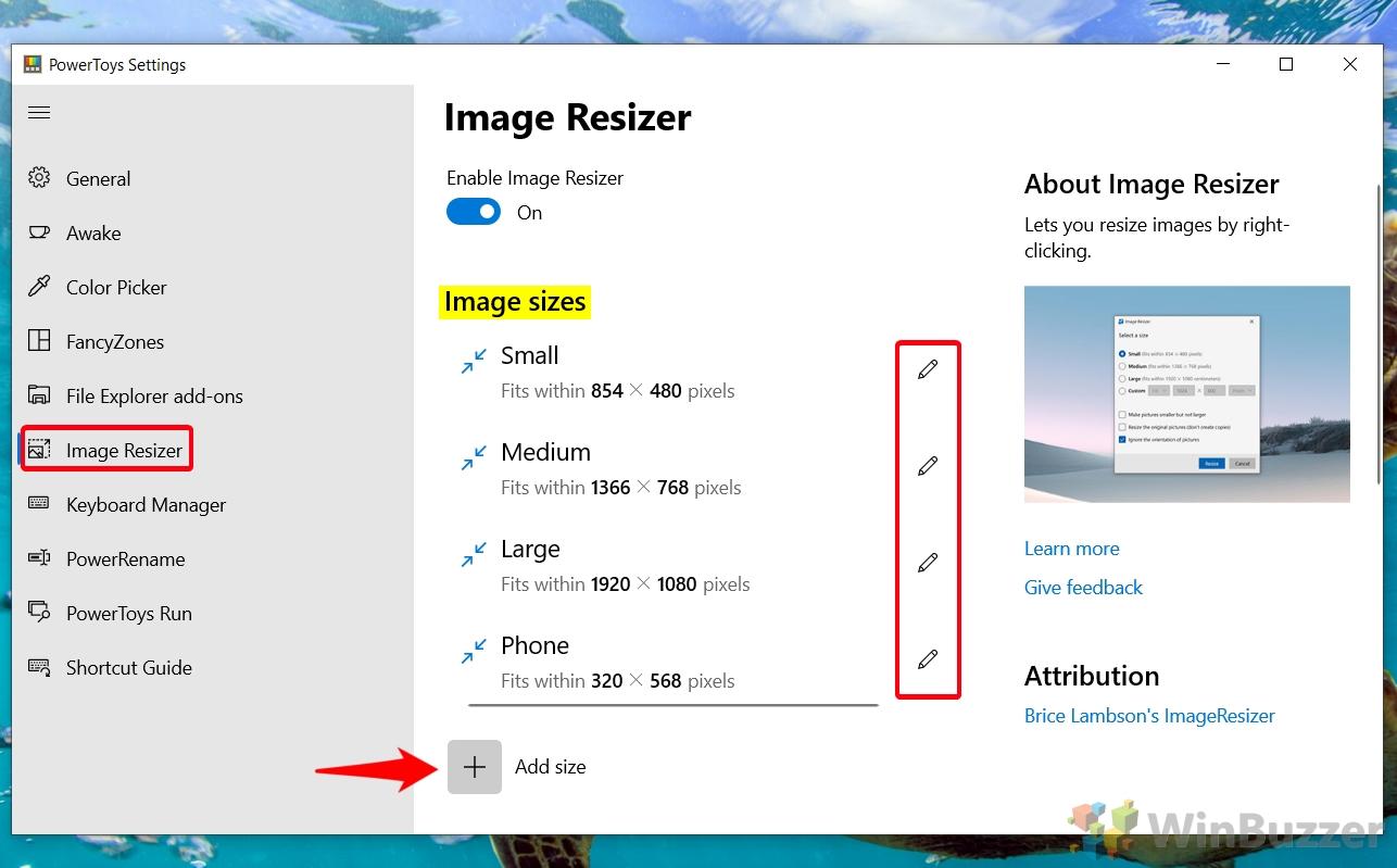 Windows 10 - PowerToys - Image Resizer - Image Size - Select or Customize