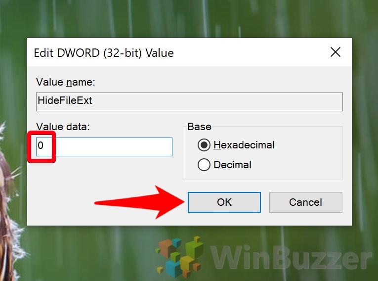 Windows 10 - Registry Editor - Navigate to the Key - HideFileExt - Value Data 0 - Ok
