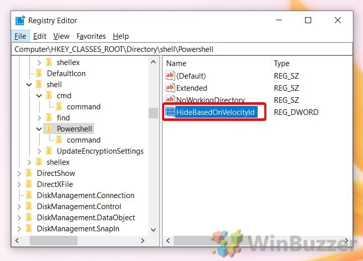 Windows 10 - Registry Editor - Browse the Path to Powershell - HideBasedOnVelocityld